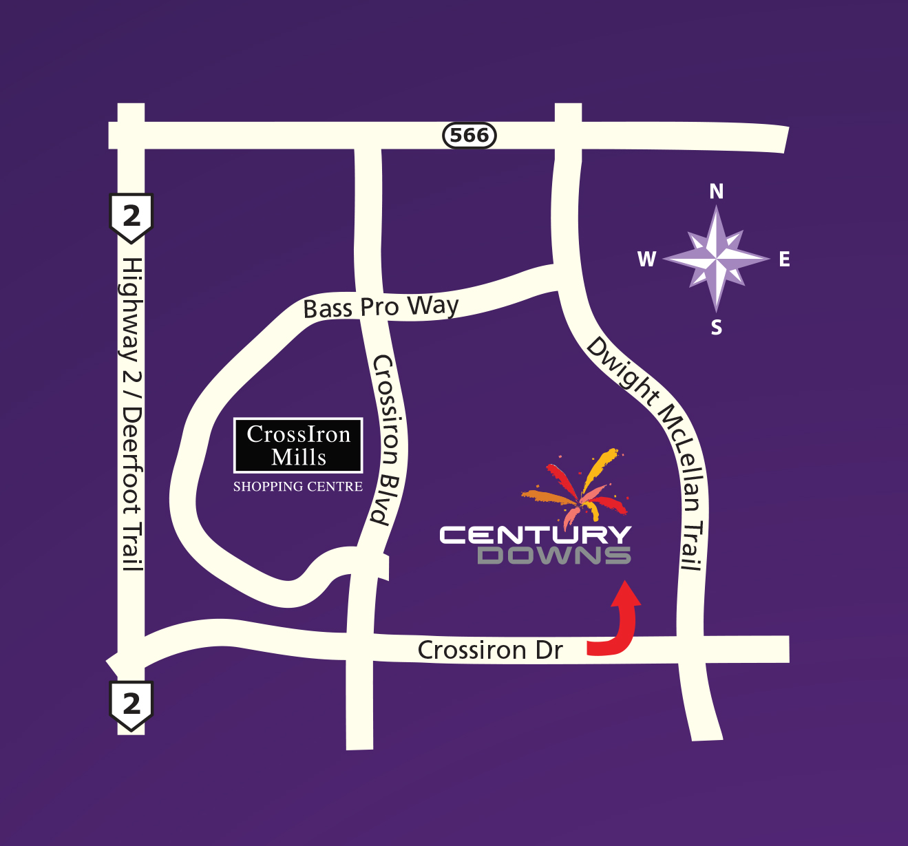 Driving Map to Century Downs
