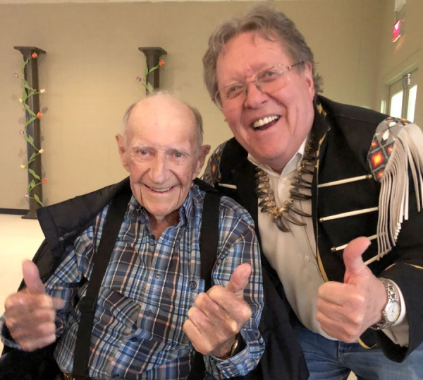 Cecil Wiest - a long-time horseman at RMTC - with Max Gibb. Sadly, Cecil passed away June 6th at the age of 91.
