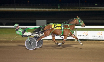 Dave Kelly piloting Rockin Mystery in the Alberta Marquis final at Century Mile on Friday night