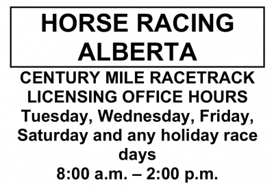 Century Mile Licensing Office Hours (November 2019)