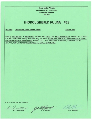 Ruling T013-2019